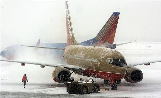 Máy bay bị phủ kín tuyết sau trận bão tuyết ở sân bay Midway thuộc Chicago, Mỹ. Ảnh tư liệu: AFP