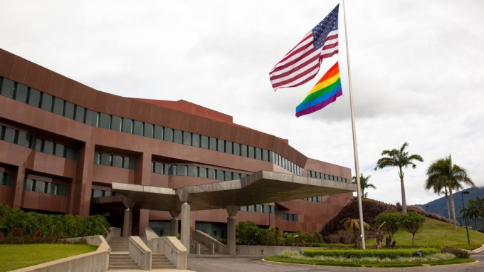 Đại sứ quán Mỹ tại thủ đô Cacaras, Venezuela. (Ảnh: RT)