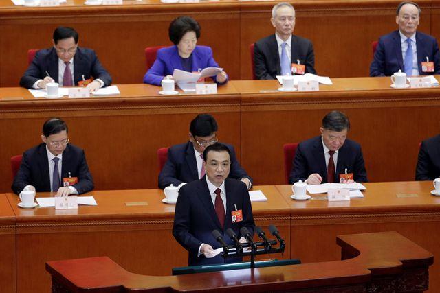 Thủ tướng Trung Quốc Lý Khắc Cường phát biểu tại phiên khai mạc kỳ họp Đại hội Đại biểu nhân dân toàn quốc Trung Quốc ngày 5/3. (Ảnh: Reuters)