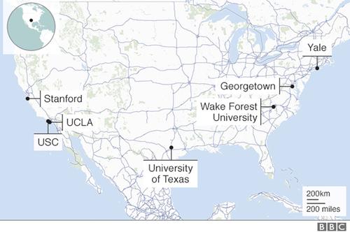 Mạng lưới các trường đại học Mỹ có liên quan tới vụ gian lận hồ sơ tuyển sinh. Ảnh:BBC.