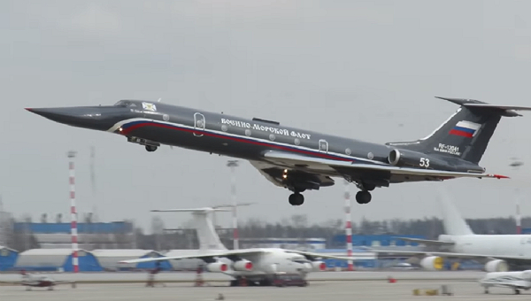 Chiếc máy bay Tu-134UBL bay thử sau khi sửa chữa.