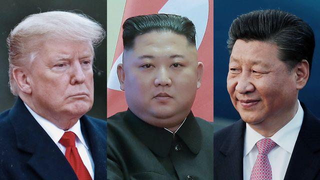 Từ trái qua: Tổng thống Mỹ Donald Trump, Chủ tịch Triều Tiên Kim Jong-un, Chủ tịch Trung Quốc Tập Cận Bình (Ảnh: Nikkei)
