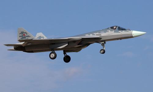 Tiêm kích Su-57 Nga bay thử đầu năm 2019. Ảnh:Russian Planes.