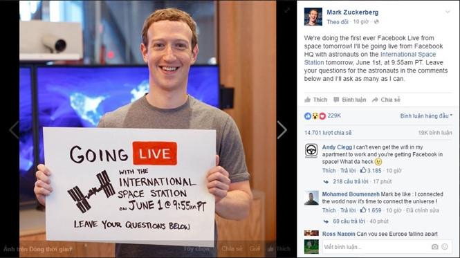 Facebook sẽ lần đầu tiên tổ chức sự kiện truyền hình trực tiếp từ vũ trụ.