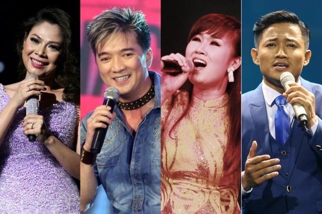 Thanh Thảo, Đàm Vĩnh Hưng, Võ Hạ Trâm, Quý Bình (từ trái qua) cùng nhiều ngôi sao ca nhạc khác sẽ hội tụ tại Khát vọng trẻ 10. Ảnh Tuoitre.vn