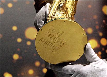 Hình ảnh đáy chiếc cúp FIFA World Cup thật. Tên của các nhà vô địch qua mỗi giải đấu sẽ được khắc ở đây và khắc bằng đúng ngôn ngữ của nước đó. Ví dụ, Đức vô địch giải đấu năm 1990 sẽ được khắc là