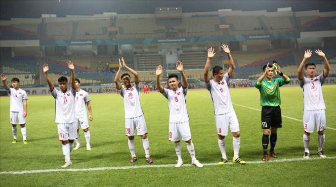Các cầu thủU23 Việt Namsau chiến thắng trước Nepal. Ảnh: Đ.Đ