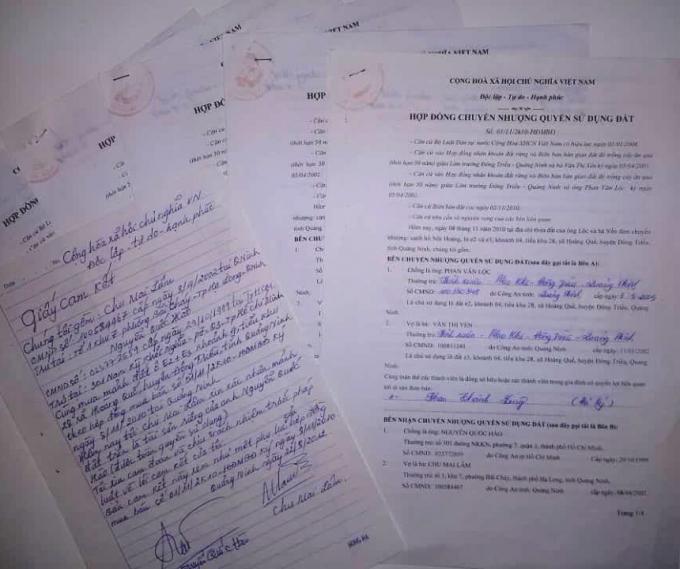 Hợp đồng mua bán và giấy cam kết giữa hai vợ chồng ông Hào và bà Lâm.