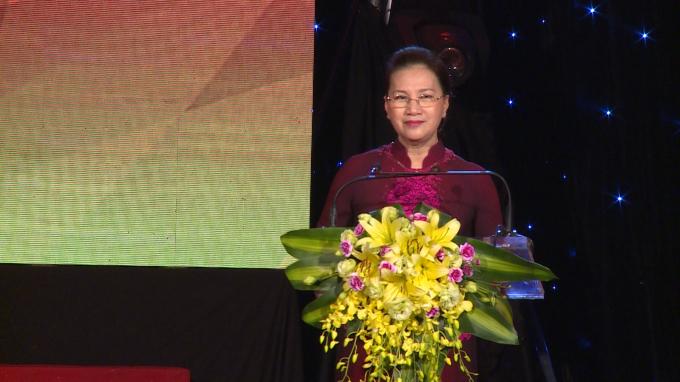 Ủy viên Bộ Chính trị, Chủ tịch Quốc hội Nguyễn Thị Kim Ngân phát biểu chỉ đạo tại buổi Lễ.