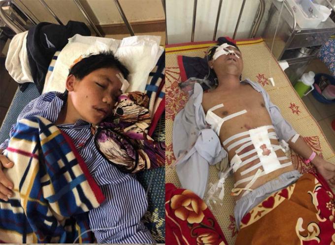 Vợ chồng anh Phúc chị Hoa đang được điều trị tại bệnh viện đa khoa Hà Tĩnh.