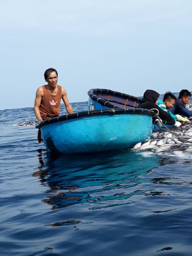 Người thân đi thuyền thúng ra vớt cá lên bờ trong niềm hân hoan, phấn khởi.