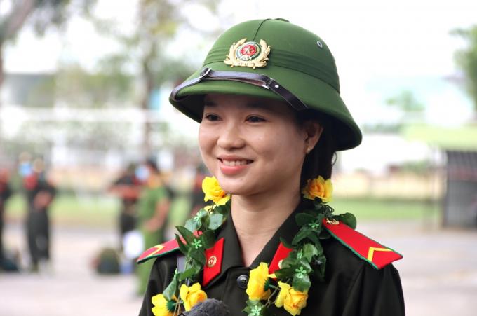 Em Nguyễn Thị Ngọc Hân (1 trong 6 nữ tân binh tham gia nghĩa vụ Công an nhân dân tại An Giang năm 2021)