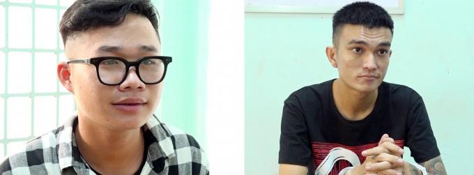 Đối tượng Nguyễn Tuấn Thanh (áo đen) và Trần Hải Nam (áo sọc) tại cơ quan điều tra.