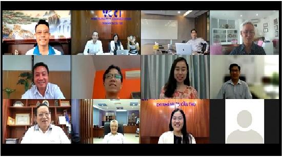 Hình ảnh tại cuộc họp Ban điều hành đầu tiên của Mạng lưới MRBN - Các thành viên Ban Điều hành Mạng lưới từ các đầu cầu trực tuyến.