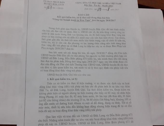 Văn bản Báo cáo UBND tỉnh Kon Tum của UBND huyện Đắk Glei về vụ khai thác vàng trái phép mà Pháp luật Plus phản ánh ngày 28/8/2017.