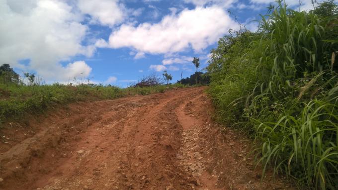 Con đường đất rất lớn này nằm ngay sau thôn Long yên, xã Đắk Long, là con đường rất đông người đi vào khu khai thác vàng trái phép tháng 8/2017 mà lực lượng chức năng không biết