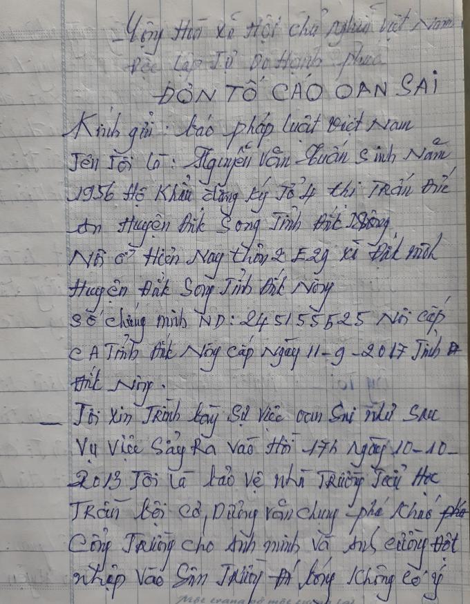 Đơn thư kêu oan của ông Nguyễn Văn Tuấn gửi đến PLVN.