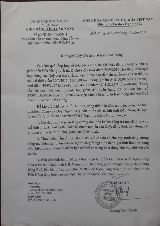 Văn bản số 604 của Ngân hàng nhà nước Việt Nam chi nhánh ĐắkNông ngày 20/10/2018 gửi QuỹĐTPT