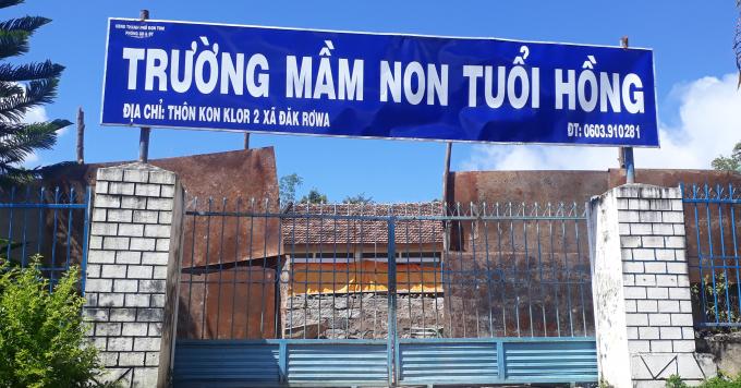 Trường mầm non Tuổi Hồng, TP Kon Tum nơi bị tố có nhiều sai phạm.