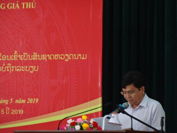 Phó chủ tịch UBND tỉnh Kon Tum Nguyễn Hữu Tháp- phát biểu tại buổi lễ