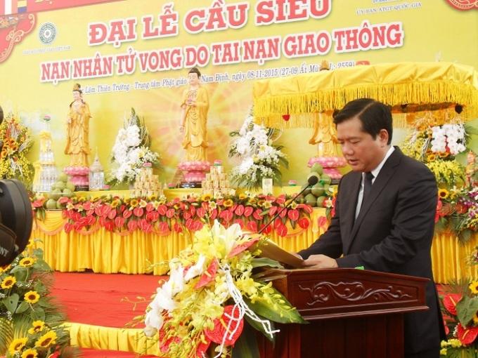 Bộ trưởng Bộ GTVT Đinh La Thăng phát biểu tại đại lễ. Ảnh: Ngọc Nga