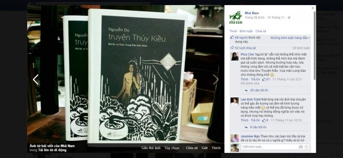 Ngay sau khi đăng tải bức hình bìa sách Truyện Thúy Kiều nhà sách đã nhận được rất nhiều phản hồi của độc giả Ảnh: fanpage công ty sách Nhã Nam