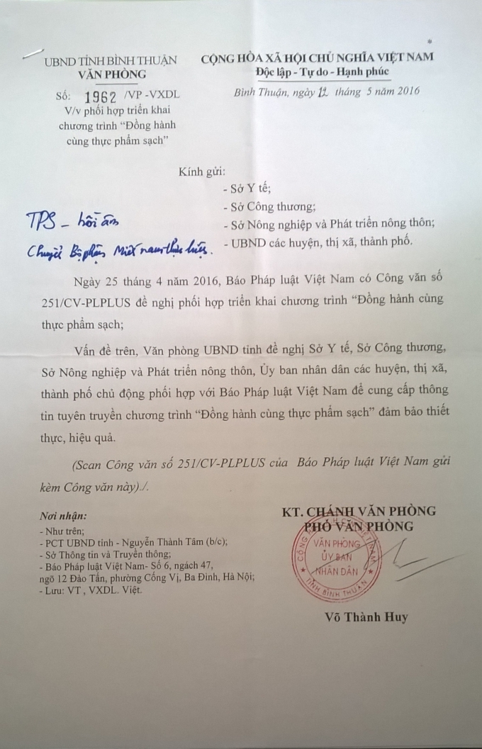 Công văn phúc đáp của UBND tỉnh Bình Thuận.