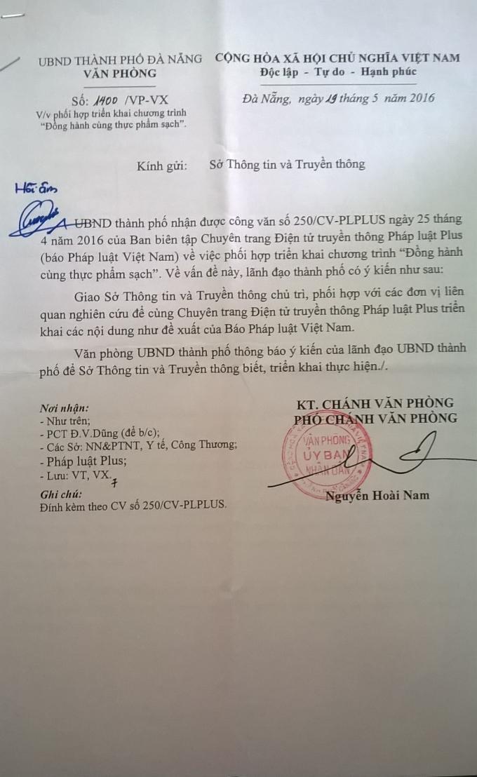 Công văn phúc đáp của UBND TP Đà Nẵng