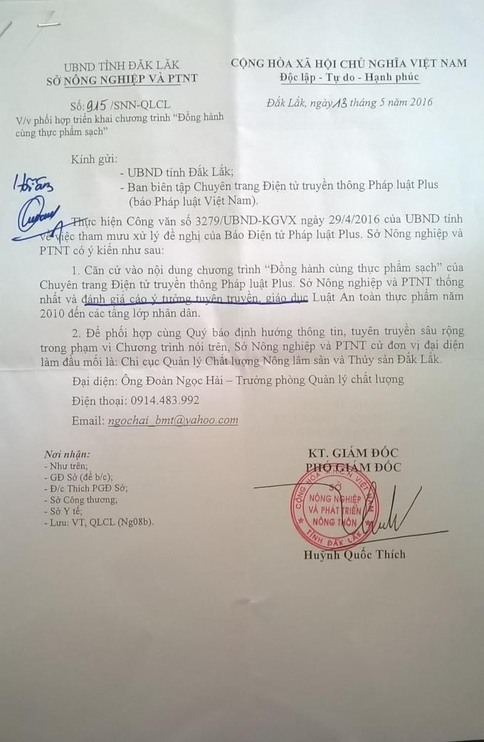 Công văn phúc đáp của UBND tỉnh Đắk Lắk.