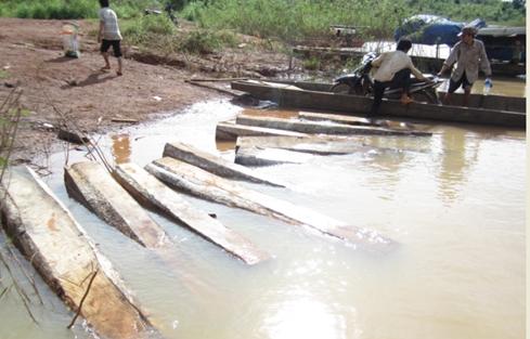 Bãi gỗ lậu để dày trên bến