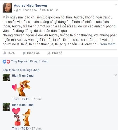 Tâm thưAudrey Hiếu Nguyễn đăng tải trên trang cá nhân.