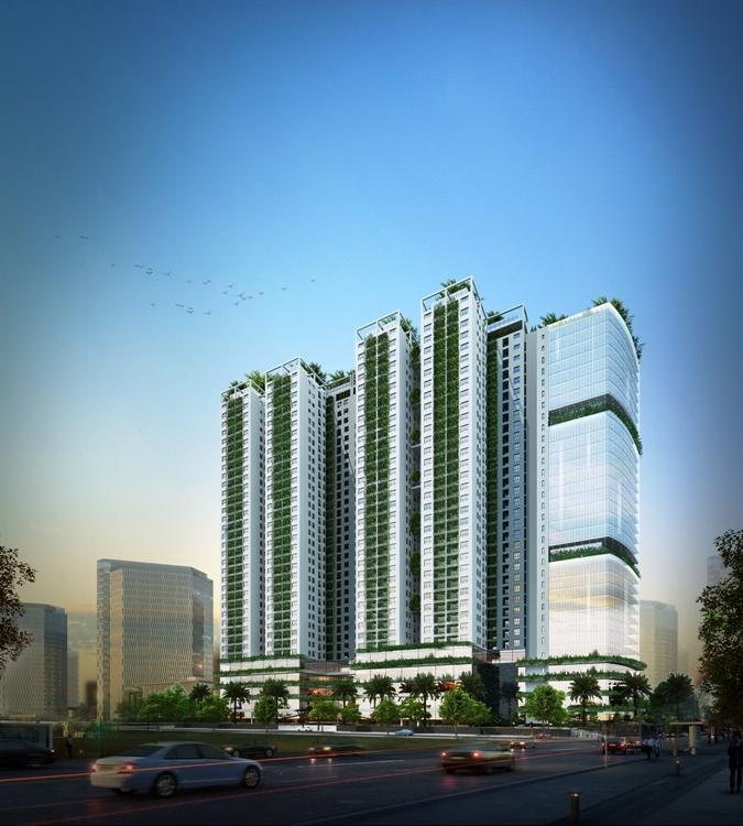 Ecolife Capitol được thiết kế như một tòa tháp xanh 3 tầng xanh cơ bản bao quanh dự án.
