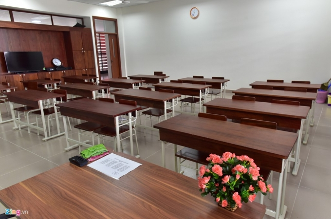 Các lớp học đều rộng rãi, thoáng mát. Thiết bị nội thất đẹp long lanh.