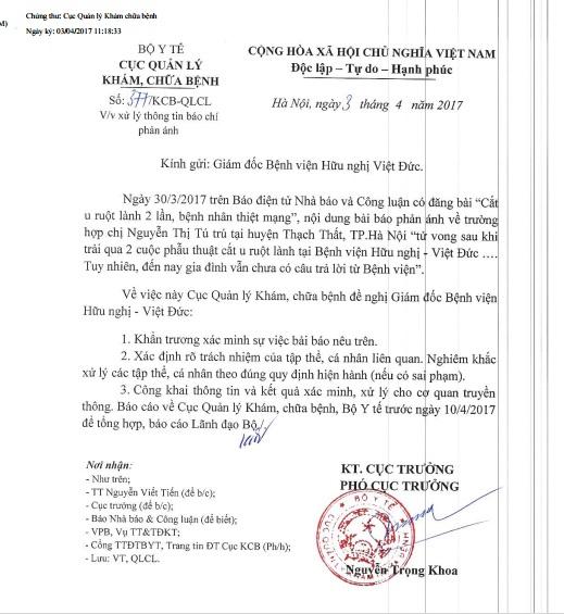 Công văn Cục Quản lý Khám, Chữa bệnh gửi Giám đốc bệnh viện Việt Đức.