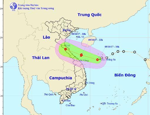 Vị trí, hướng đi của áp thấp nhiệt đới. Ảnh: nchmf.gov.vn