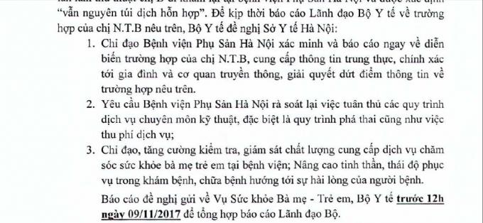 Công văn của Bộ Y tế đề nghị Sở Y tế Hà Nội chỉ đạo BV Phụ sản Hà Nội xác minh thông tin và báo cáo Bộ Y tế.