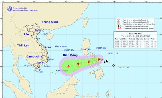 Dự báo vị trí, hướng đi của cơn bão gần Biển Đông. Ảnh: nchmf.gov.vn