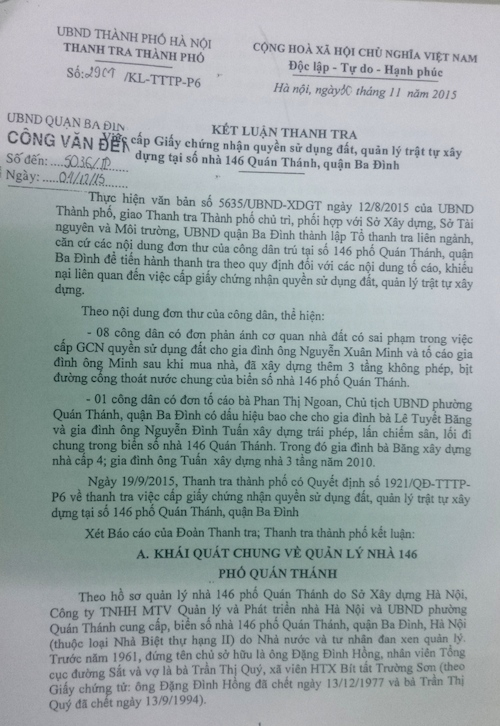 Vụ 146 Quán Thánh: Quận Ba Đình có