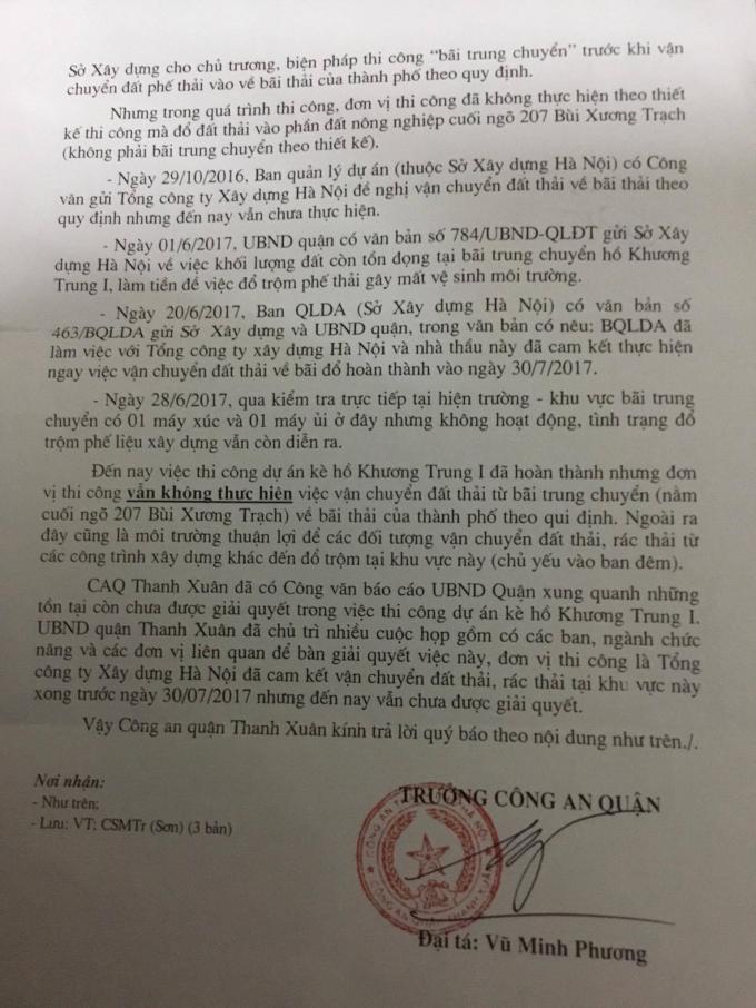 Công văn phản hồi của Công an Quận Thanh Xuân tới Pháp luật plus