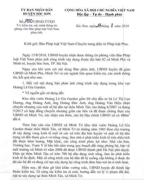 Văn bản UBND huyện Sóc Sơn phản hồi tới Pháp luật Plus.