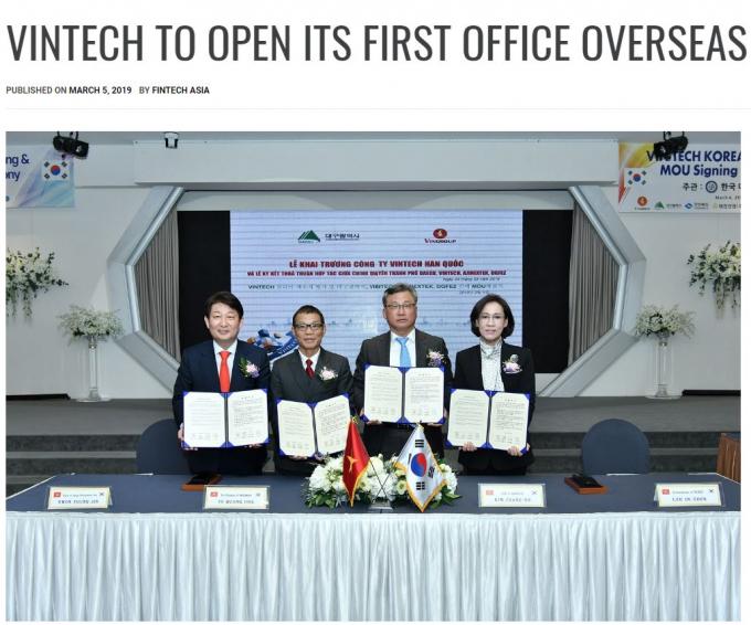 Tờ Fintech Asia đưa tin đậm nét về sự kiện ra mắt VinTech Hàn Quốc (Ảnh: Fintech Asia)