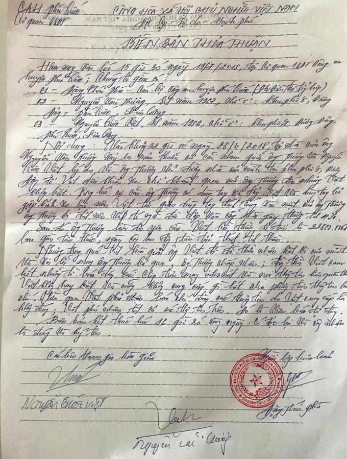 Biên bản thỏa thuận cảu Tài xế taxi Nguyễn Quốc Việt