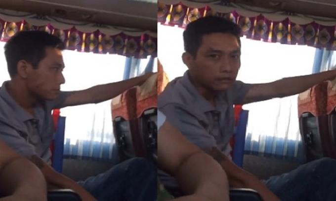 Hình ảnh thanh niên xăm trổ xin tiền hành khách trên xe (Ảnh: từ clip)