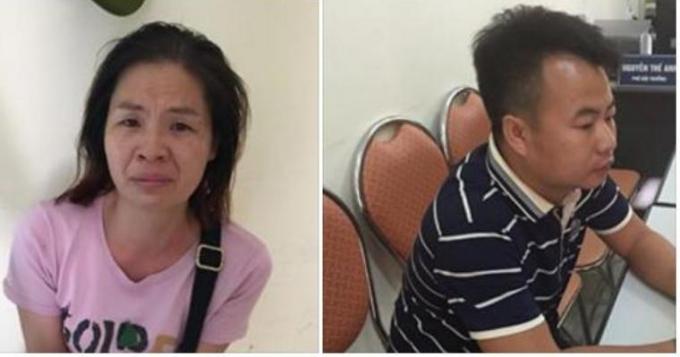 Hai đối tượng người Trung Quốc tại cơ quan điều tra.