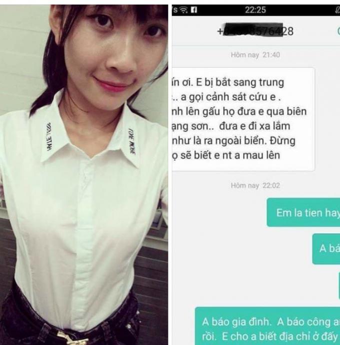 Thiếu nữ 18 tuổi nhắn tin cầu cứu gia đình báo công an với thông tin đang bị lừa lên xe đưa sang nước ngoài.