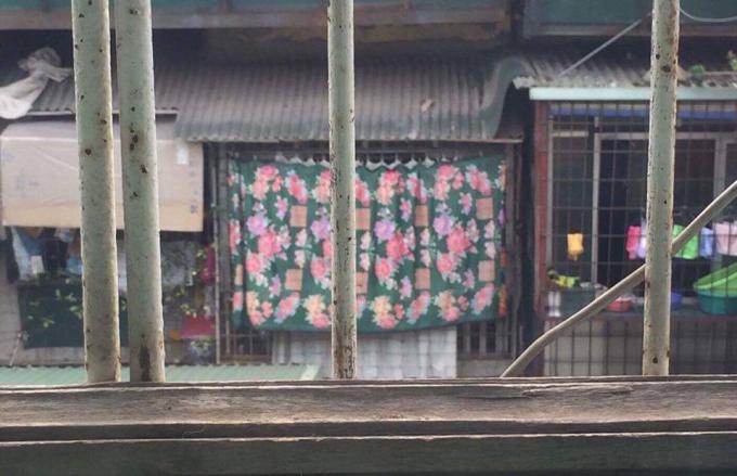 Bà Ngọ thiết kế rèm che hoa trước hiên nhà sau khi cho trẻ ăn.