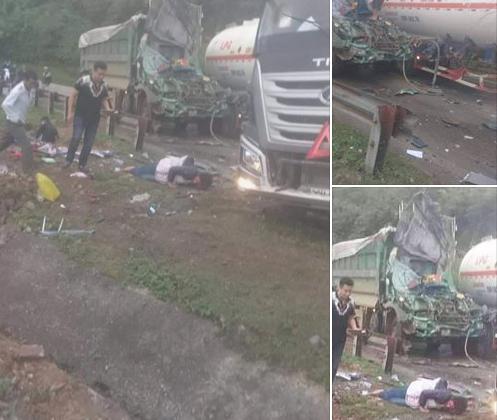 Vụ tại nạn nghiêm trọng giữa xe tải và xe đầu kéo, kéo theo bồn chứa xăng dầu.