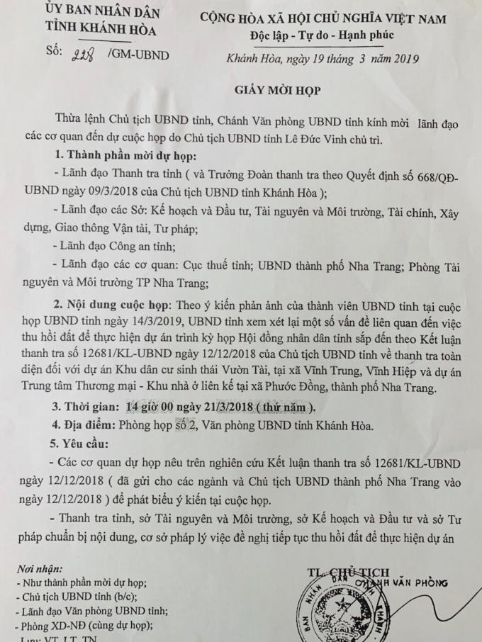 Giấy mời họp của UBND tỉnh Khánh Hòa.