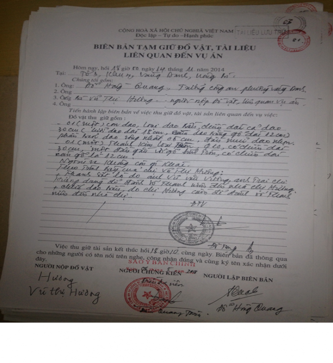 Biên bản tạm giữ đồ vật, tài liệu liên quan đến vụ án.