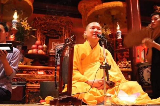 Chú thích ảnh: Dù chưa học xong trường lớp về Phật giáo, nhưng Thích Đạo Huấn vẫn mở khóa tu, rao giảng Phật pháp, tụ tập nhiều sinh viên trong chùa